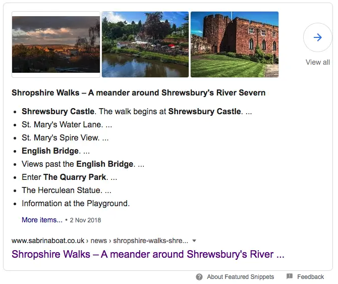Featured Snippet from Google Shrewsbury