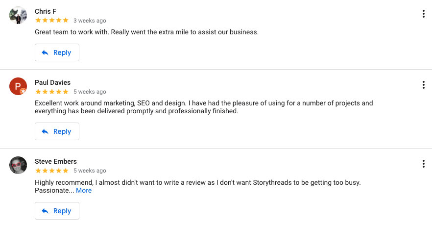 Image from Google My Business showing StoryThreads 5 Star Reviews